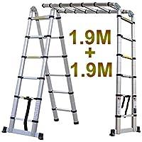 Generic - Escalera telescópica telescópica de Aluminio Ladd Ladd con Montura en L, Multiusos