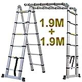 Generic.Copic Ladd Telescop Lescopic l–scala telescopica in alluminio scala multiuso ulti-pur estensione Me Ladde