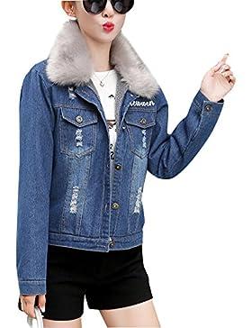 Invierno Chaqueta De Mezclilla Abrigo Vaquera Corto Espesar Cálido Para Mujer Azul XL