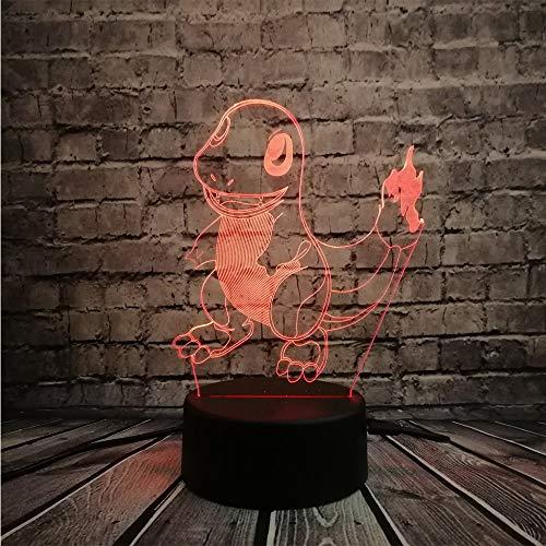 ZHIJINLI Pokemon Go Figura de acción Lámpara 3D RGB Pikachu Eevee Tortuga Pájaro Dragón de Fuego Bola Pokeball Bulbasaur Bahía Papel Luz de Noche de Regalo LED, Toque 7 Colores