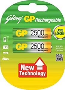 Godrej GP AA 2500 NiMH Rechargeable Battery (Pack of 2 )