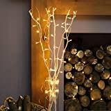 Bouquet Lumineux Décoratif 5 Branches Naturelles de Saule - 50 LED Éclairage Blanc Chaud - 90cm