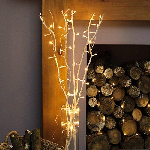 strombetriebene, beleuchtete, Herbst/Winter-Deko, 5 Zweige Weide Weiß, 90cm, mit 50 LEDs in warmweiß (Weiß) - Beleuchtete Weiden