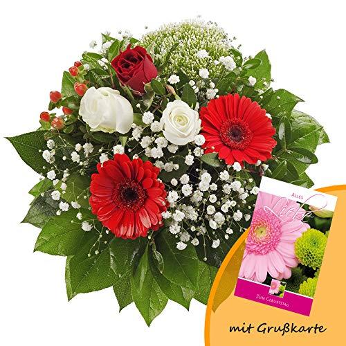 Dominik Blumen und Pflanzen, Blumenstrauß 'Gruß von Herzen' mit Rosen, Gerbera und Johanniskraut...