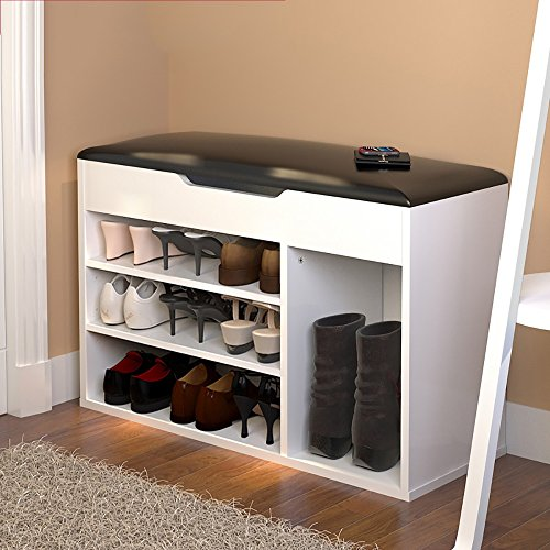 LJHA Tabouret pliable Repose-pieds moderne / chaussure armoire / multifonctions bottes tabouret de rangement / tabouret de canapé (6 couleurs en option) chaise patchwork ( Couleur : Blanc , taille : B-80*54cm )