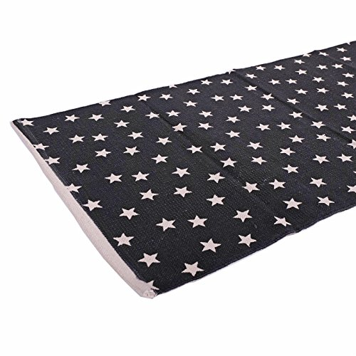 noir blanc Relaxdays Tapis de passage avec imprim/é g/éom/étrique coton Blanc et Noir couloir salon 80x200 cm