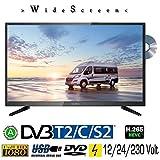 Reflexion LDD 3288 WideSceen LED Fernseher mit 32 Zoll 80 cm , DVB-S2, DVB-T2, DVB-C, DVD, USB, 230V + 12Volt + 24Volt, Energieeffizienzklasse A , Blickwinkel 178/178 Grad v/h für Camping, LKW, PKW