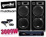 Pack DJ sono AMPLI GEMINI, Enceintes 2x 1000W