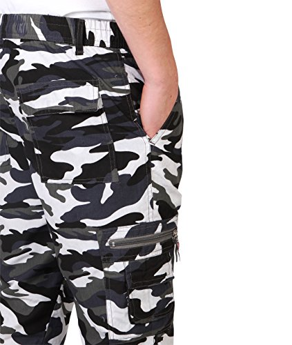 Herren Cargo Combat Camouflage Hose Weiß 7919