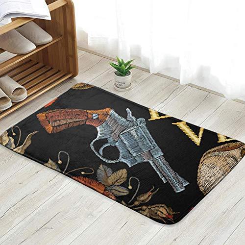 vintage cap Embroidery Skulls Guns Dice The Arts Cowboy Beauty Fashion Doormat Entrance Mat Floor Mat rug Indoor/Front Door/Bathroom/Kitchen And Living Room/Bedroom Mats 31.5 X 19.5 inch