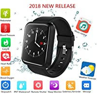 Fitness Tracker 2018, IP67 Waterproof Big Colour Screen Activity Tracker with 8 Sports Modes Swimming Pedometer HR Blood Pressure Spo2 Monitor Smart Watch for Kids Men Women for Android Iphone
