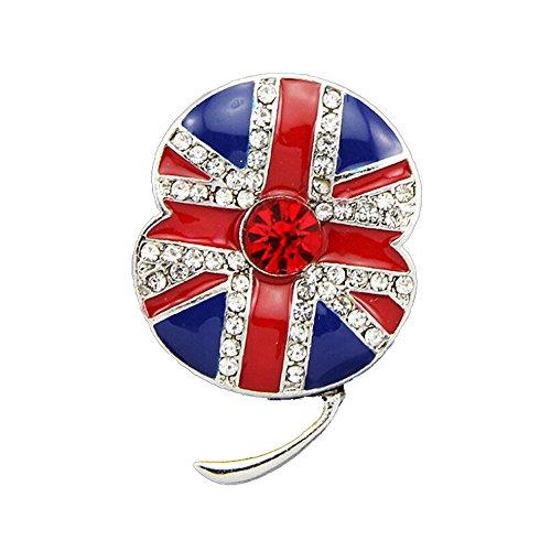 korpikus® rosso strass ' Union Jack ' gioiello incrostati scintillante spilla papavero In sacchetto regalo in Organza gratis