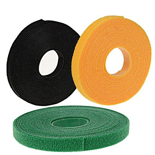 oldhill Verschluss Tapes 15'x 1/5,1cm Haken und Loop wiederverwendbar Träger Drähte Bindekordeln Kabelbinder Black Green Yellow -