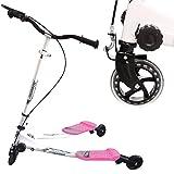 Hikole Kinderscooter Kinderroller mit 3 Rädern Wiggle Scooter Drei Rollen mit Handbremse Y-Funscooter für Kinder ab 3-15 Jahre