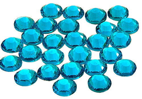 EIMASS® 7747 Serie Hot Fix Edelsteine, flache Rückseite, Glaskristalle, zum Aufbügeln, 1440 Stück, Blauer Zirkonia, 4 mm (Blaue Flache Edelsteine Rückseite)