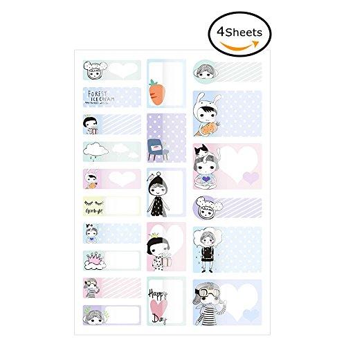 Airmall 4x Kinder Baby-Flasche Etiketten für Kindertagesstätten Handschrift Wasserdicht Spülmaschinenfest Sticker Flaschen Namensschilder 19.5 x 12CM