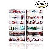 Washi Tape Dekoband Set von 12 Rollen-Konsait dekorativ DIY Klebeband Masking Tape Collection für Xmas Dekorationen, Weihnachts Geschenkpapier und Gegenwart, Craft scrapbooking (Typ 1)