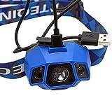 TEQIN Superhelle CREE LED Scheinwerfer Hochleistend Taschenlampe Wasserabweisend USB Kabel Wiederaufladbar Scheinwerfer Lampe für Radfahren Camping Andere Outdoor Aktivitäten(Blau) - 4