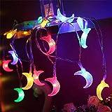 Mond Form Led Kette Licht Festival Beleuchtung Fee Girlande Weihnachtsbaum Hochzeit Ramadan Dekoration Warmweiß 6 Meter 40 Lichter (Flash + Batterie)