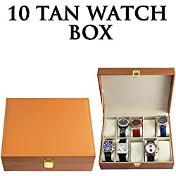 HUMLIN 10 TAN FAUX LEATHER WATCH CASE ORGANISER STORAGE DISPLAY BOX PILLOWS