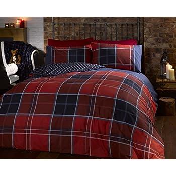 argyle ensemble parure de lit avec housse de couette r versible et 2 taies d 39 oreiller lit king. Black Bedroom Furniture Sets. Home Design Ideas