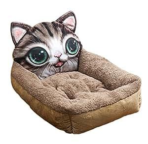 LvRao Letto per Animali Domestici Testa Animale Forma Divanetti per Cani e Gatti Morbide Materassino (Gatto Marrone, S: 46*38*12cm)