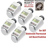 Komfort Heizkörperthermostat Model L 'PRO' mit Boost Funktion - 5er Set +++ incl. stabiler Metallmutter !!