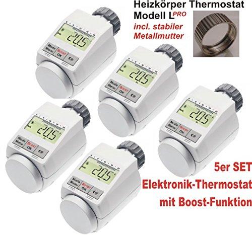 Komfort Heizkörperthermostat Model L \'PRO\' mit Boost Funktion - 5er Set +++ incl. stabiler Metallmutter !!