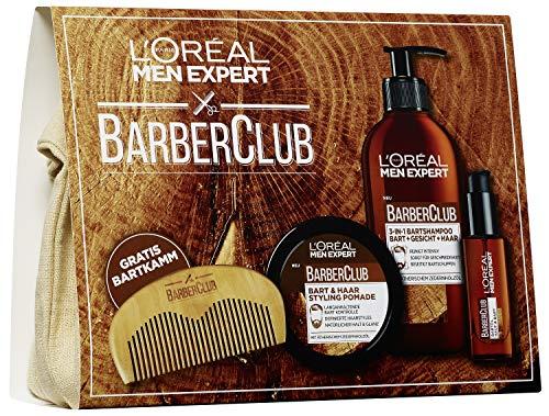 L'Oreal Men Expert Barber Club Premium Geschenkset im Stoffbeutel, mit 3-in-1 Barber Club Bartshampoo, 200 ml, Bartöl, 30 ml, Pomade, 75 ml und gratis Bartkamm