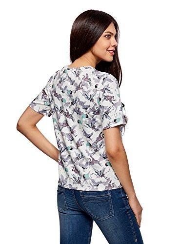 oodji Ultra Damen Gerade Geschnittenes T-Shirt Aus Strukturiertem Stoff Weiß (1270Q)