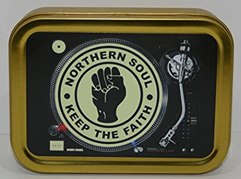 Northern Soul 'Keep the Faith' DJ Decks Turntable Fist Gold Sealed Lid 2oz Tobacco Storage Tin