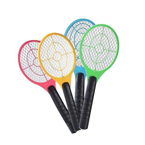 Gusspower Baterías Exterminador Eléctrico de Insectos Raqueta, Raqueta Mosquitos Moscas Bug Zapper, matamoscas electrico (Color Aleatorio) (A)