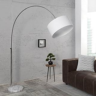 Bogenlampe Bogenleuchte HARDY 170-200cm Leinen Weiss Marmor Chrom Design - Designer Lampe von ambientica