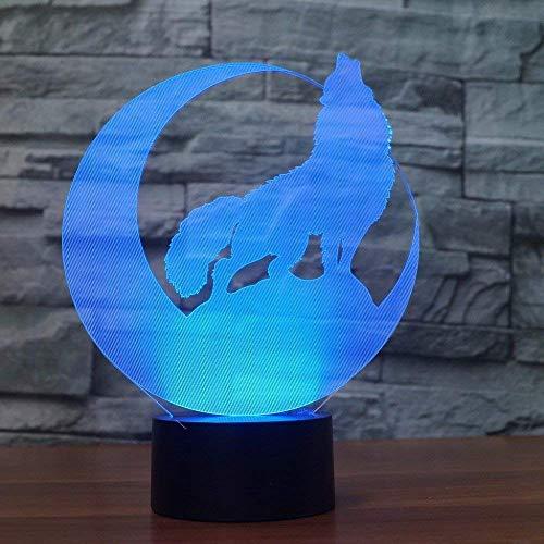 Optische Täuschung 3D Wolf Nacht Licht 7 Farben Andern Sich USB Adapter Touch Schalter Dekor Lampe LED Lampe Tisch Kinder Geburtstag Weihnachten Geschenk