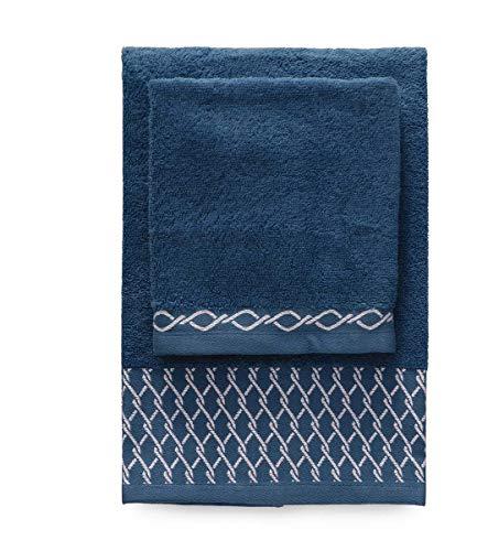 Set coppia 2 pezzi 1+1 asciugamani cm 60x110 + 40x60 zucchi basics asciugamano 100% puro cotone (blu col. 3)