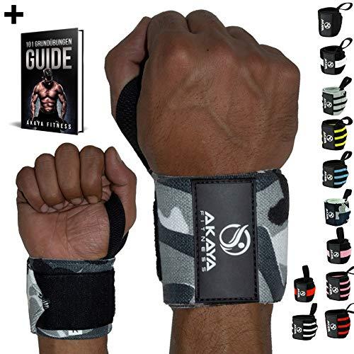 AKAYA Handgelenk Bandagen + Gratis eBook & Anleitung   Wrist Wraps 45 cm Länge   Handgelenkbandage für Fitness, Kraftsport, Bodybuilding & Crossfit - für Frauen und Männer geeignet   Camouflage