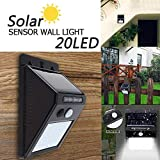 Trexee Solar Wireless Security Motion Sensor Night Light - 20 LEDs Bright and Waterproof for Outdoor/Garden Wall (20 LED)