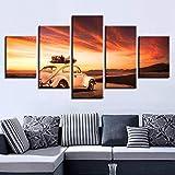Shah Fond de Chevet Peinture Décorative Paysage Voiture HD Impression sur Toile de Peinture 5 pièces Peinture d'art Mural 100cmX55cm