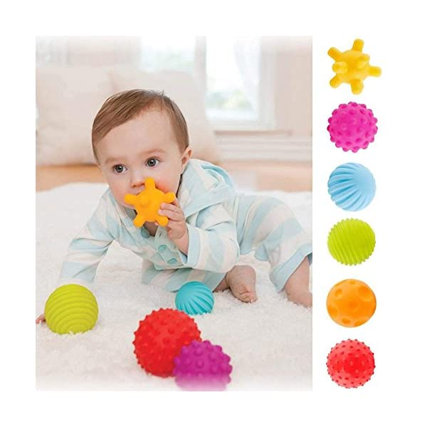 ROHSCE 6pcs Baby Textured Multi Ball Set Infant Sensory balls Massage Soft ball 2
