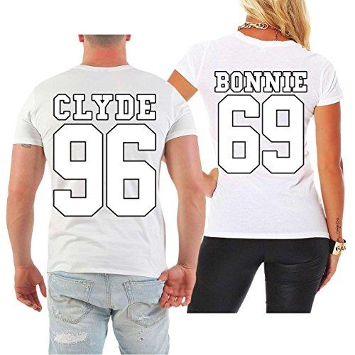 Partnershirt BONNIE & CLYDE 69 (mit Rückendruck) MANN weiß