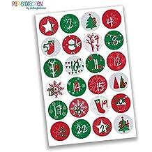24 Adventskalenderzahlen Aufkleber - klassisch rot grün Nr 15 - Sticker 4 cm - zum Basteln und Dekorieren - von Papierdrachen