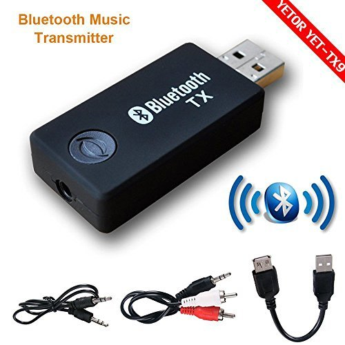 Bluetooth Transmitter, YETOR Stereo Musik Stream Video Portable USB Dongle Audio Adapter Paar mit Empfänger für Auto TV Computer Laptop Home Audio System (TX9)