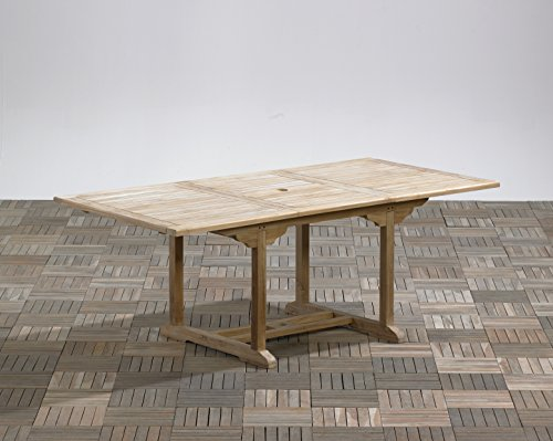 Trendy-Home24 massiver Ausziehtisch eckig Teakholz Massivholz 200/260 x 100 cm ausziehbar Esstisch Gartentisch