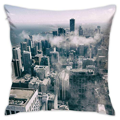LULABE Black and White New York City Landscape Decorative Throw Pillow Modern Square Form Stuffer for Couch Sofa Or Bed Set Cozy Home Decor Size:16 X 16 Inches/40cm x 40cm New York Satin Bow