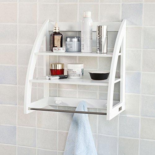 SoBuy® Toalleros repisa, estantería ,estantería de baño, Estantería de pared, FRG169-W, ES