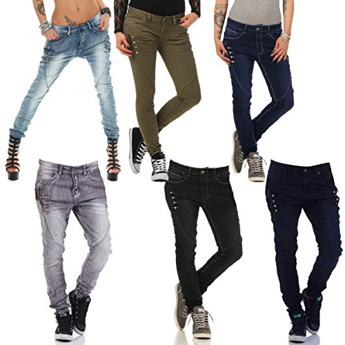 4522 Fashion4Young Damen Jeans Röhrenjeans Hose Röhre Damenjeans Boyfriendstyle Übergrössen 6-oliv