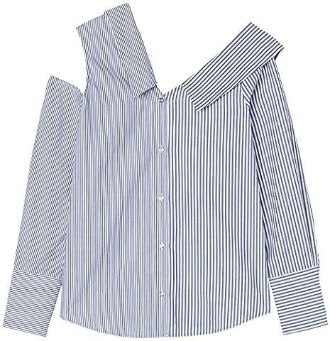 FIND Damen Hemd mit Kragen und freier Schulter Mehrfarbig (Blue/White Stripe), 42 (Herstellergröße: X-Large)
