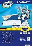 europe100 ELA049 - Etichette universali, 52,5 x 29,7 mm, 100 fogli per 4000 etichette, colore: bianco