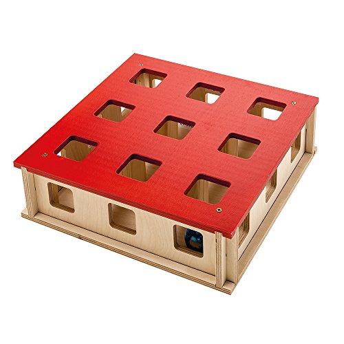 Ferplast 85100700 Katzenspielzeug Magic Box, Katzenspielezg aus Holz, Maße: 27 x 27 x 8,5 cm, holzfarben/rot