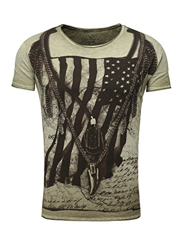 Key Largo Herren T-Shirt RACERBLADE Flaggenmotiv Printshirt Frontprint Vintage Look verwaschen Slim Fit Schnitt USA Amerika Rundhalsausschnitt grün M